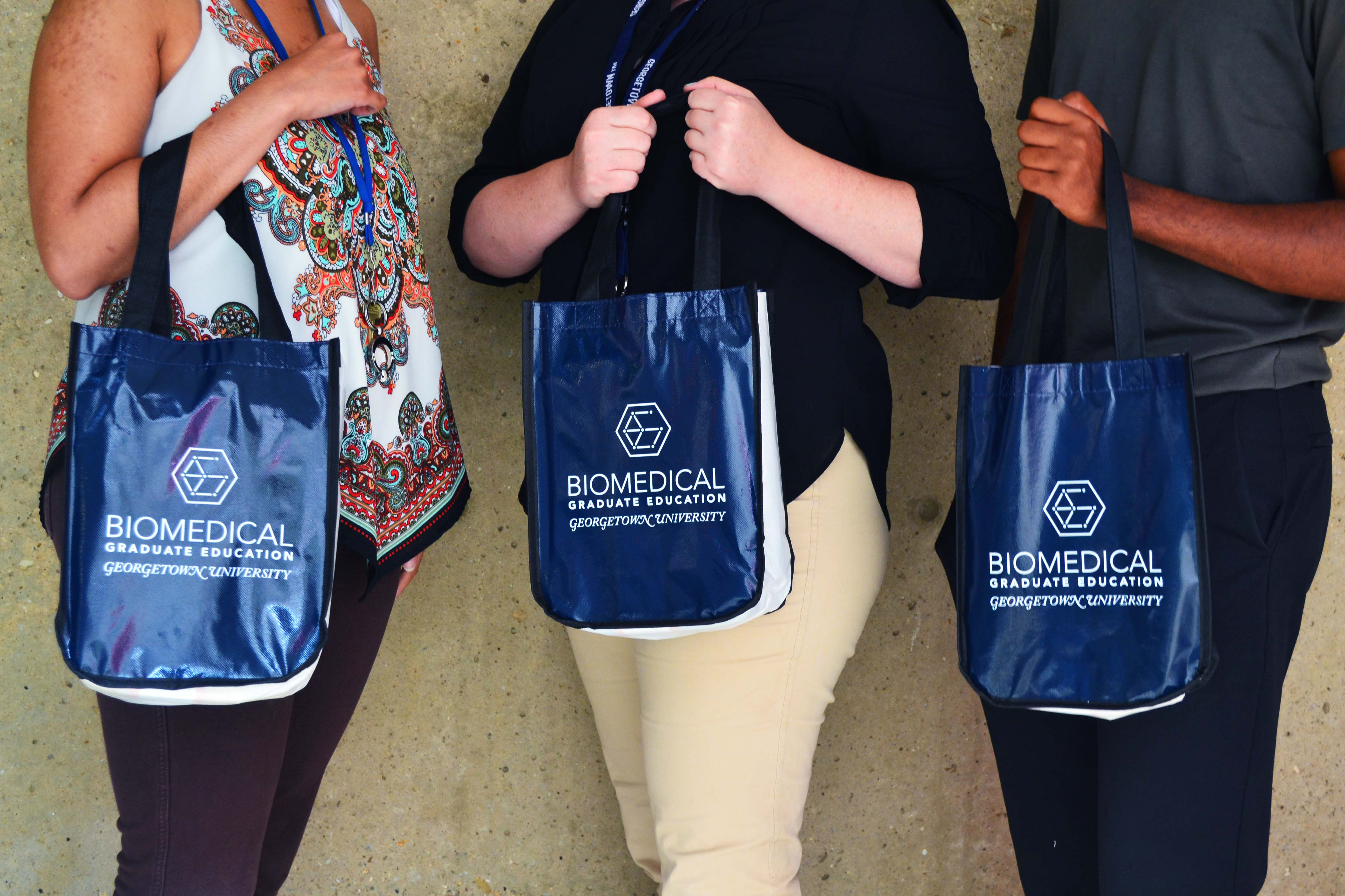 Students holding their BGE Swag Bags