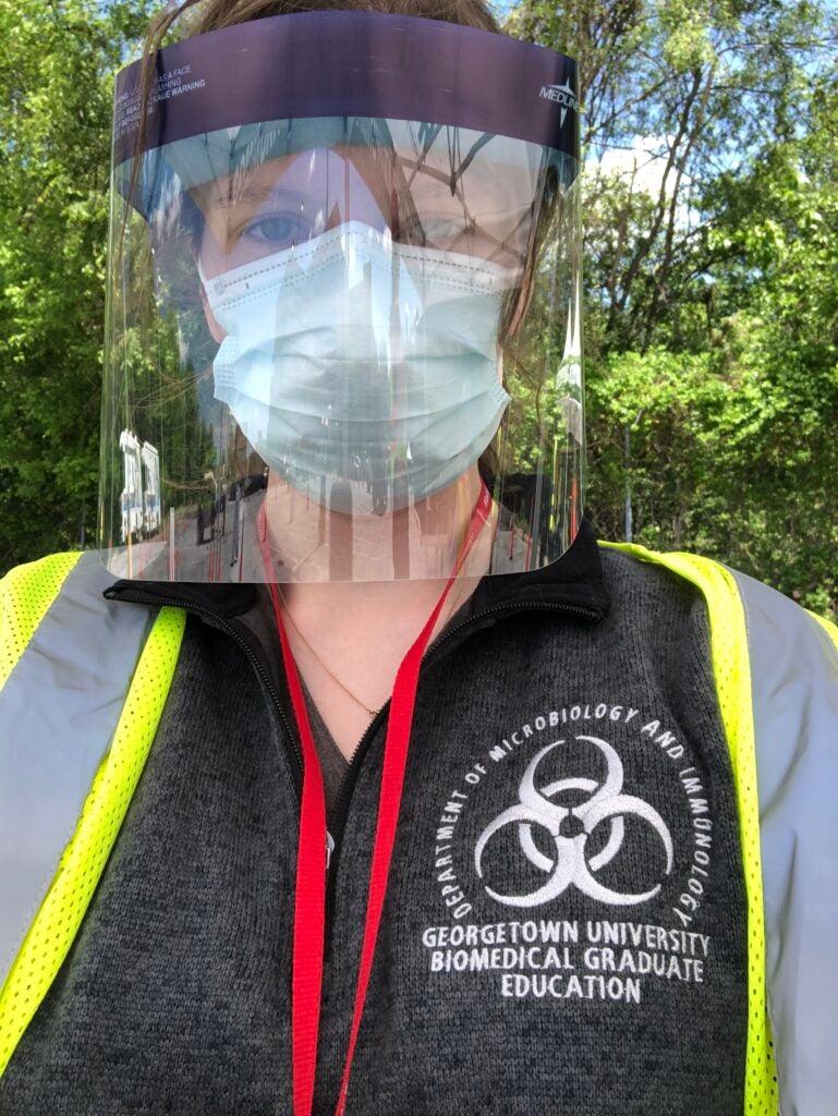 Suzie Stephenson wearing her PPE gear.